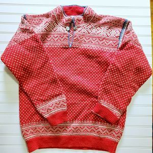 Vintage Red Wool Heavy Nordic Sweater XL XXL 2X